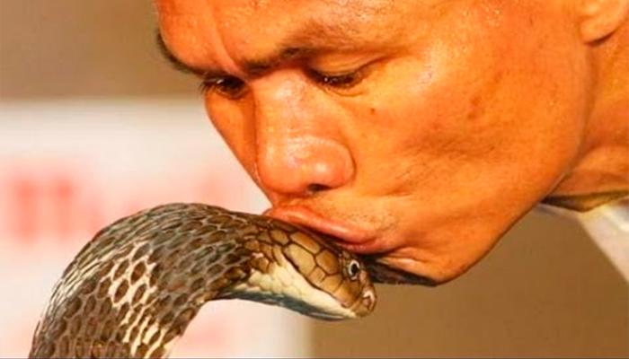 """Hombre se """"casa"""" con una cobra en la India"""