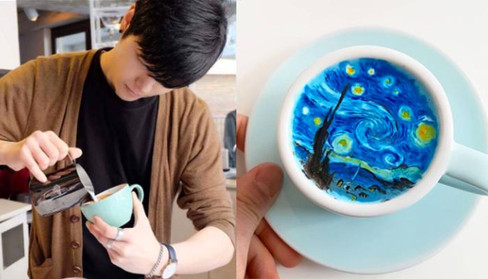 Barista convierte la espuma del café en obras de arte