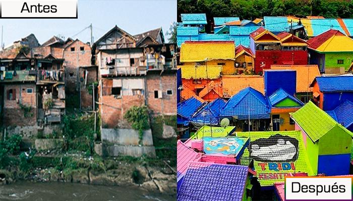 Pueblo en Indonesia se convierte en todo un arcoíris