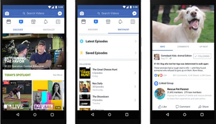 Watch, plataforma de Facebook que busca competir con Youtube