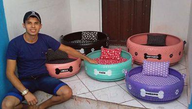 Joven brasileño crea camas para perros callejeros con neumáticos