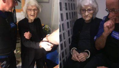 A sus 93 años le conceden su más grande deseo: ser arrestada