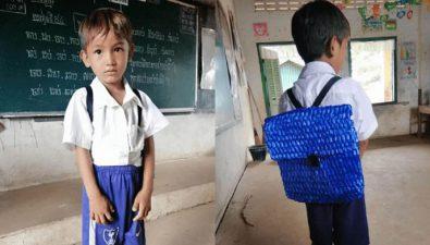 Padre no tenía dinero para comprarle una mochila a su hijo, así que le tejió una