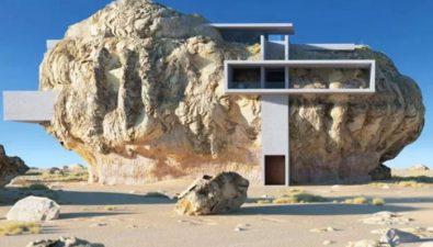 Arquitecto diseña una casa dentro de una roca