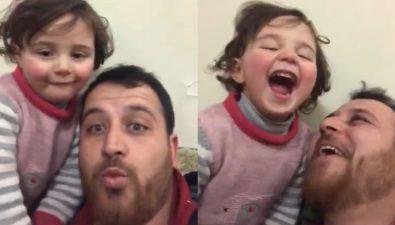 Sirio inventa un juego para que su hija no se asuste por las bombas