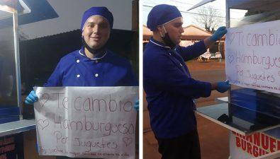 Joven paraguayo intercambia hamburguesas por juguetes para niños de escasos recursos