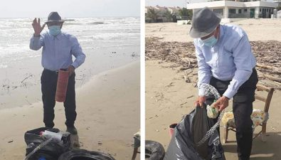Abuelito de 93 años utilizó su primera salida después de la cuarentena para limpiar la playa