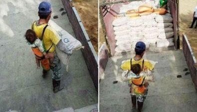 Padre trabaja con su bebé en la espalda tras quedar viudo