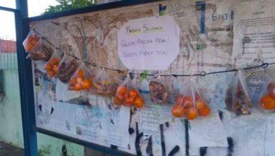 Vecinos dejan comida en una parada de bus para los más necesitados