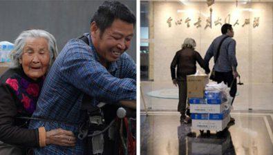 Repartidor lleva a su madre con Alzheimer a trabajar con él para poder cuidarla