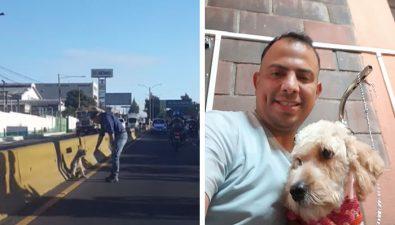Guatemalteco rescata a perrita en medio del tránsito de la Calzada Aguilar Batres